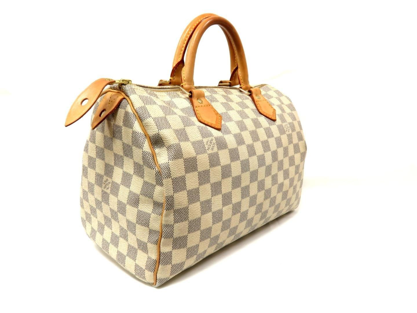 e6bf68ea1cd8 Lyst - Louis Vuitton Speedy 30 Boston Hand Bag N 41533 Damier Azur ...