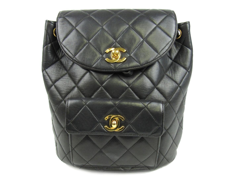 Lyst - Chanel Matelasse Chain Backpack Cc Black Lambskin Leather ... 52a15bee02f06