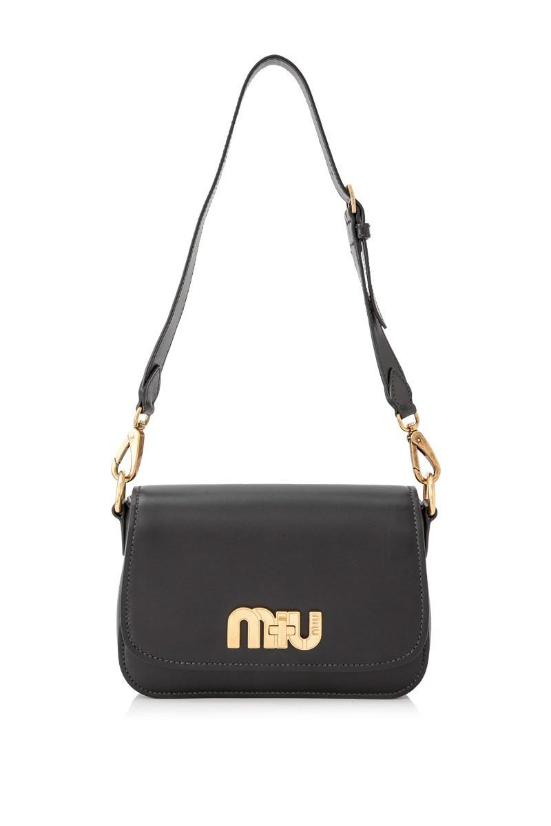 Lyst - Miu Miu City Calf Miu Logo Shoulder Bag in Black - Save 2% 200c4498dd49c
