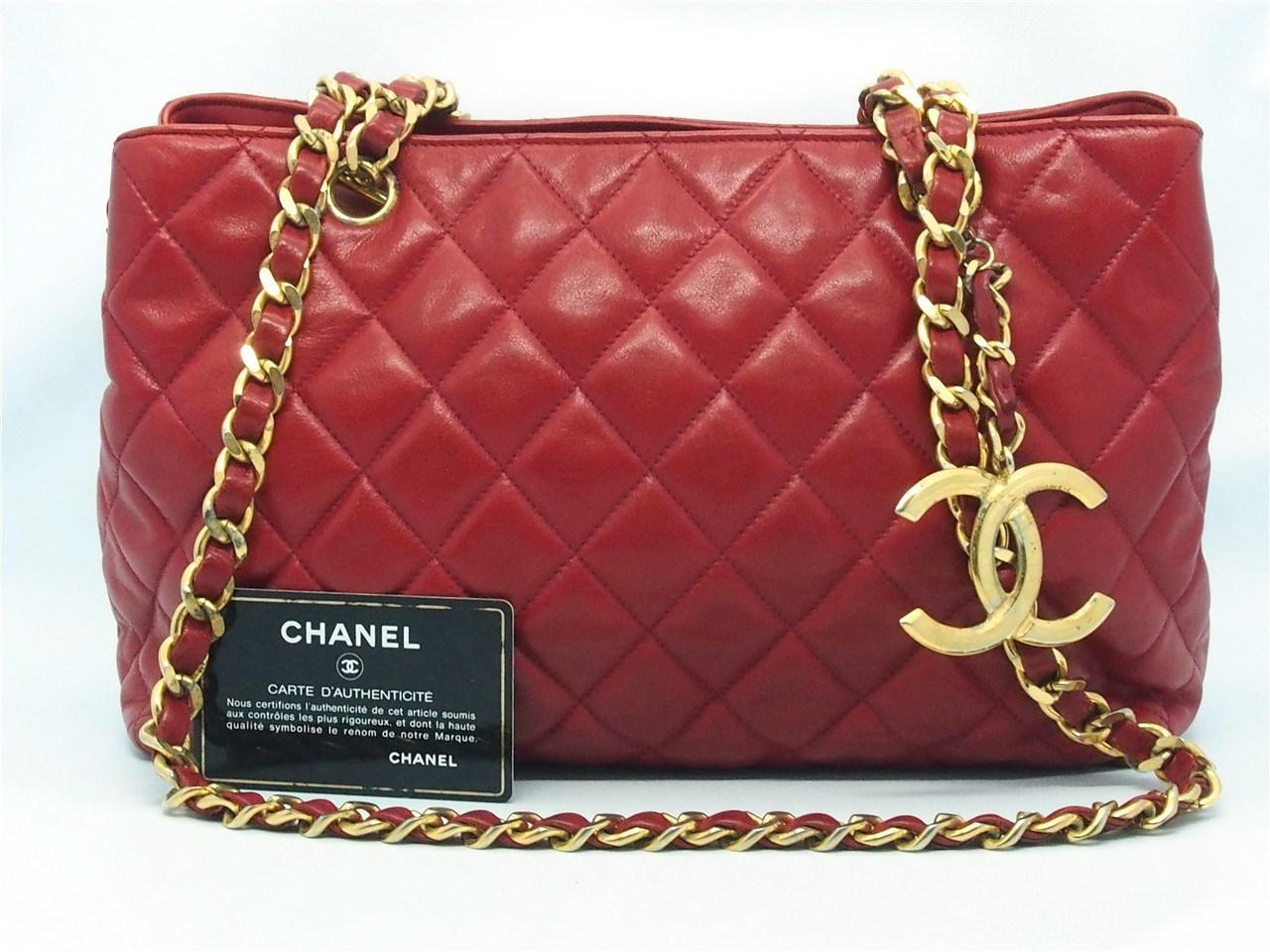 f6f6991c2d0b Chanel Authentic Red Quilted Lambskin Cc Charm Chain Shopper Tote ...