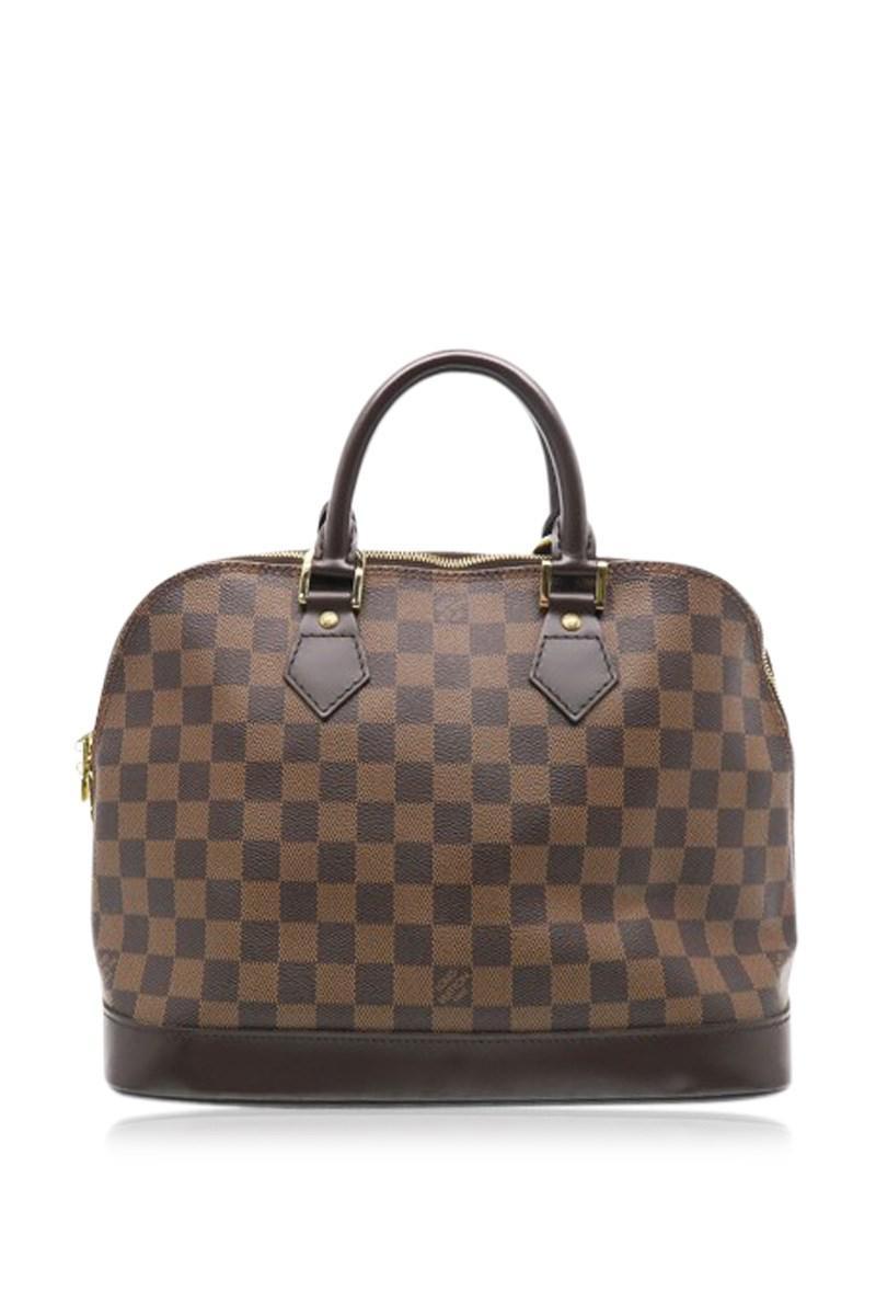 b9abfcb9040d Lyst - Louis Vuitton Damier Alma Handbag Top Handle Bag Brown N51131 ...
