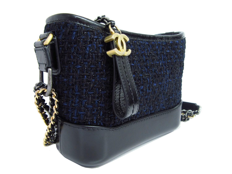 423fcd161453 Chanel Gabrielle Small Hobo Bag Shoulder Hand Bag Tweed Black Navy ...