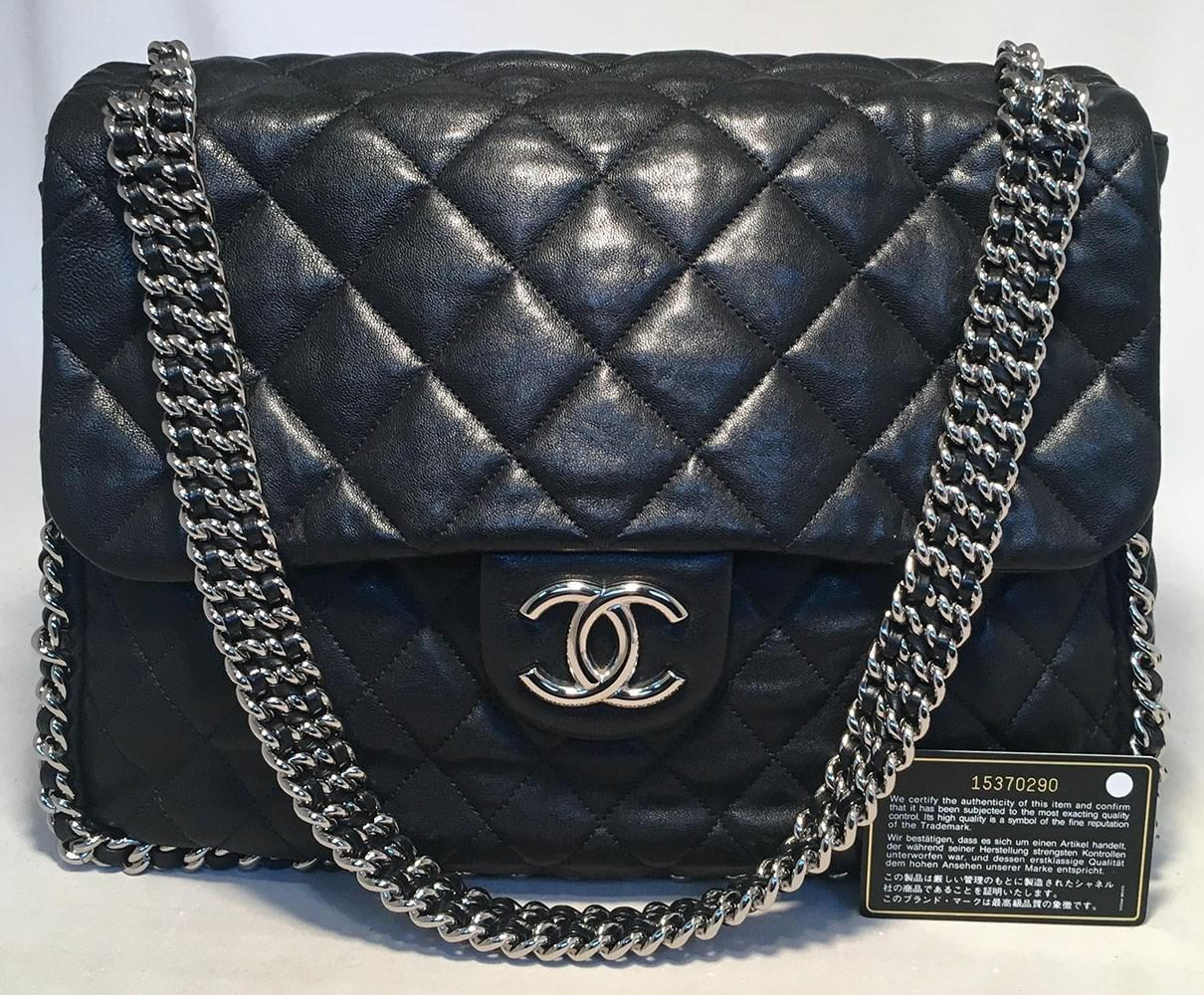 53774023545 Lyst - Chanel Black Quilted Leather Chain Trim Classic Maxi Flap ...