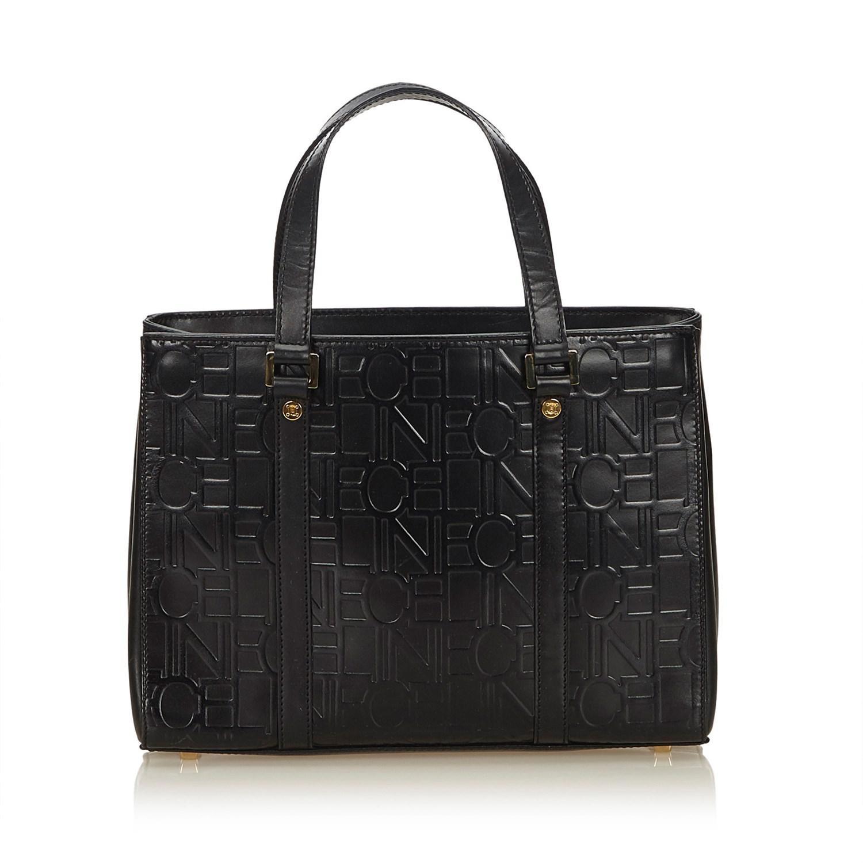 57d0ef6c665b Lyst - Céline Embossed Leather Tote in Black