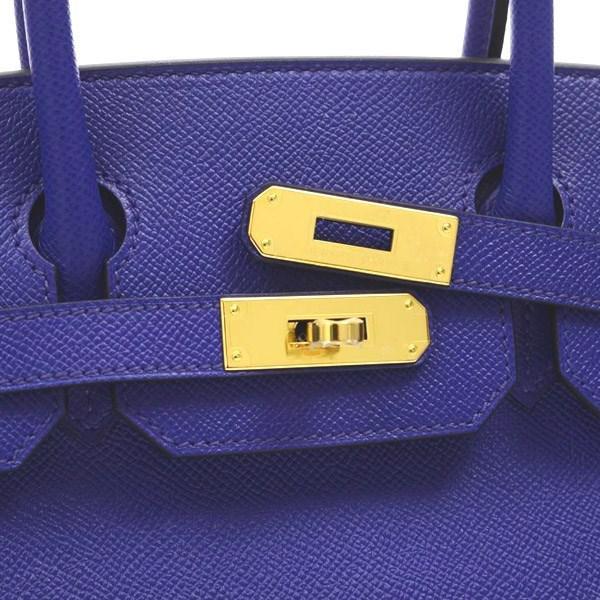 637ba3961c2 Lyst - Hermès Birkin 30 Epson Blue Electric Gold Hardware A Marking ...