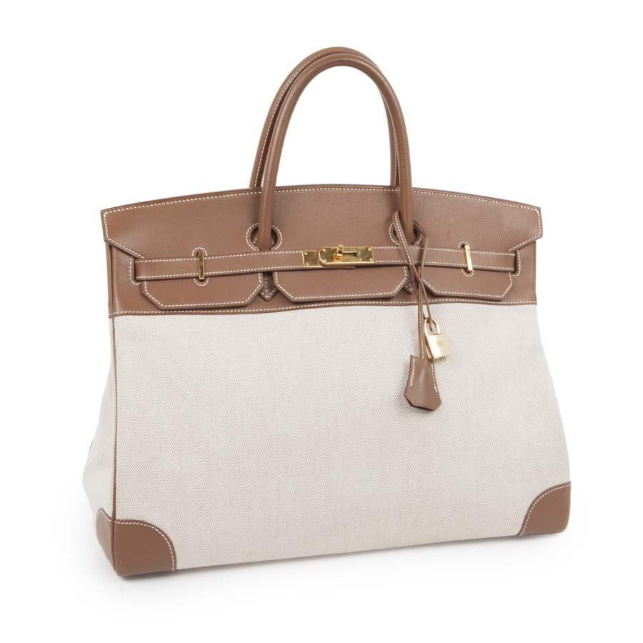 d3fba32078 Lyst - Hermès Bag Birkin 40 Ecru Canvas And Leather Calf Epsom   in ...