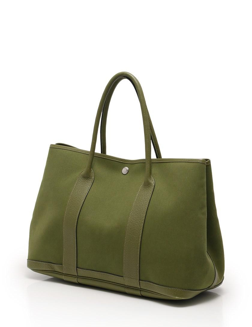 493ff230c01e ... leather a6690 adcc1  sweden hermès garden party pm tote bag green j  engraved silver hardware in green lyst 9905b