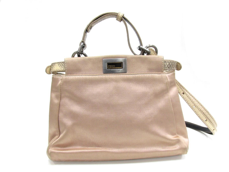 ... Lyst - Fendi Peekaboo 2way Shoulder Bag Satin Leather Beige detailing  42aed 1ce39 ... 3e5e78fa36