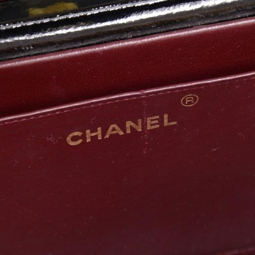 0252fa5486c4 Lyst - Chanel Vintage Vanity Black Patent Leather Large Cosmetic ...
