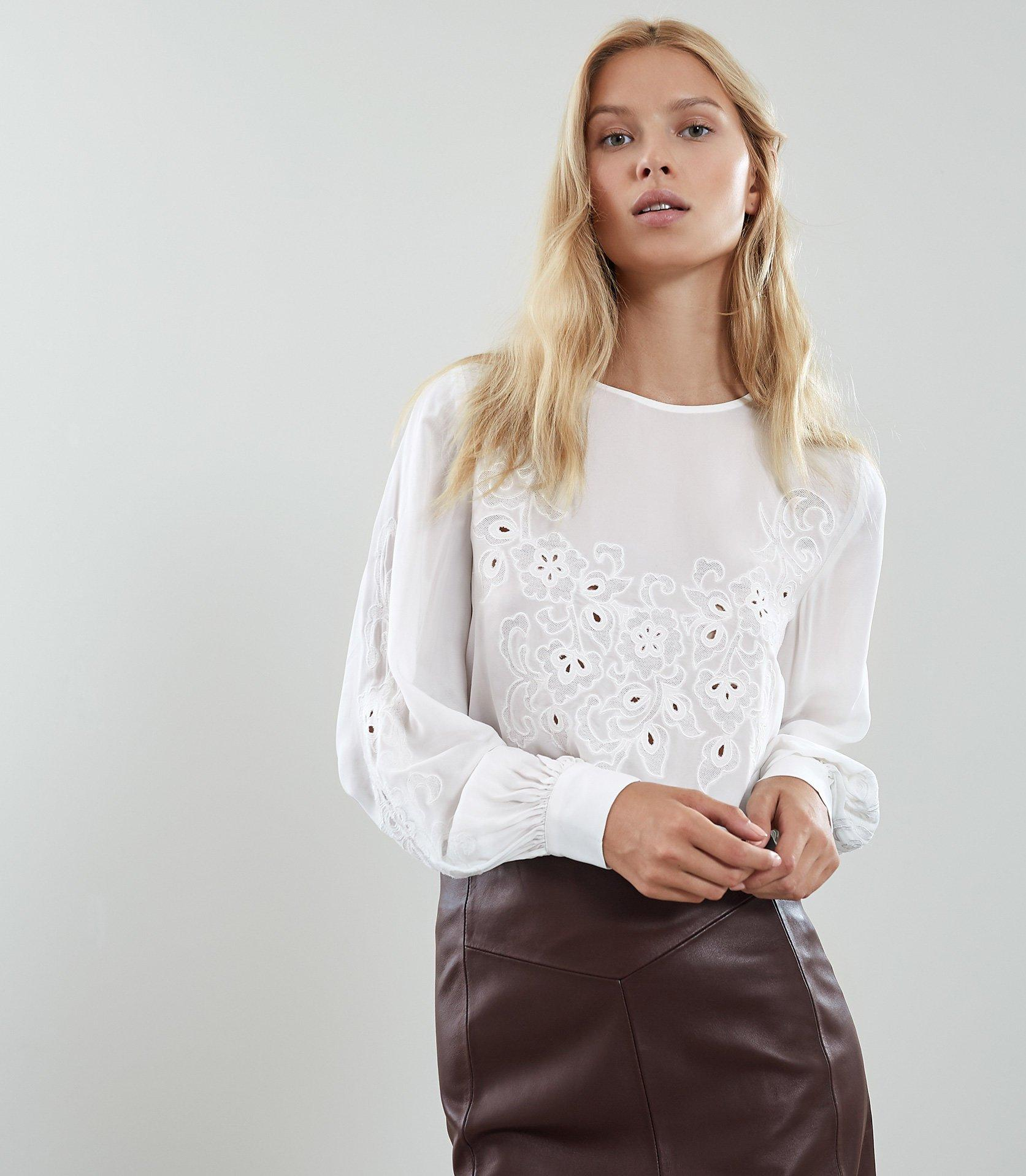 b20749c1ac4652 Lyst - Reiss Pansy - Floral Embroidered Blouse in White