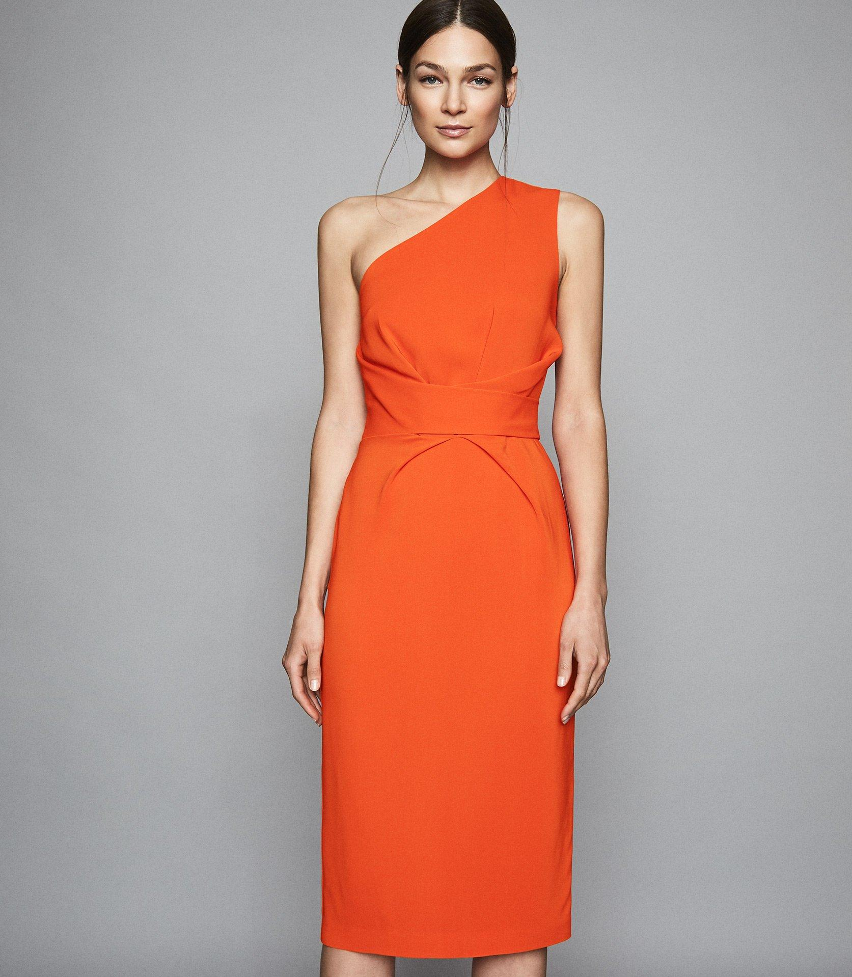 e7a55bed3c3 Reiss - Orange Laurent - One Shoulder Slim Fit Dress - Lyst. View fullscreen