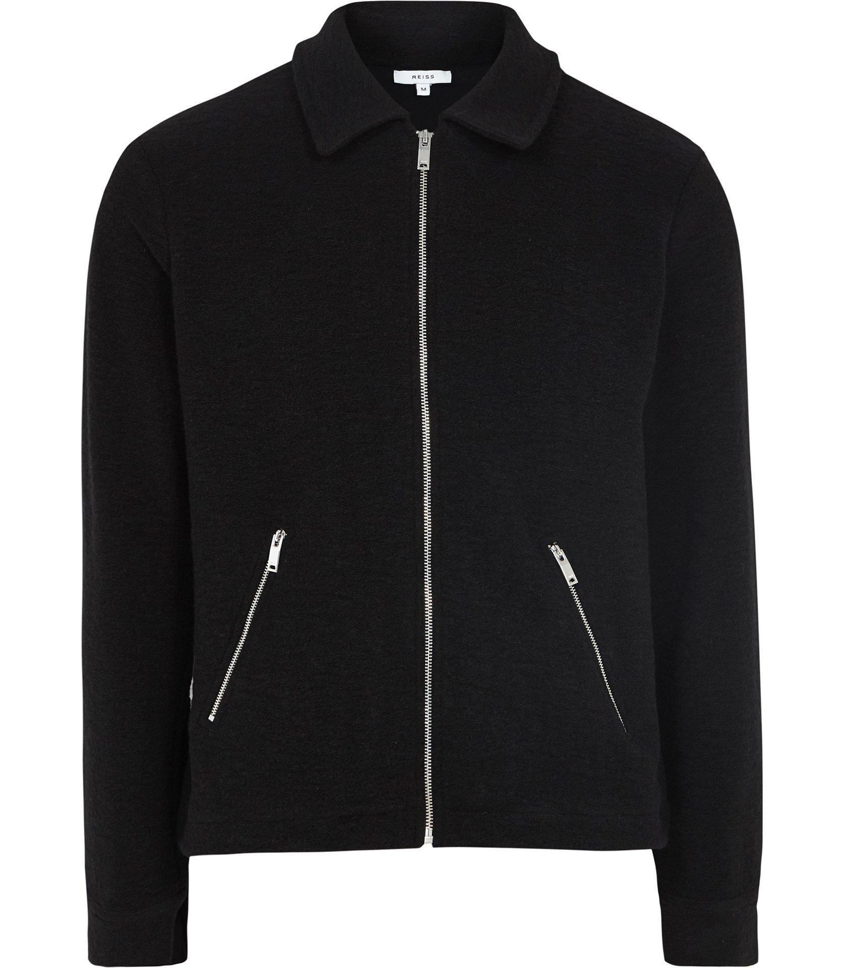 983aa3a1f462 Reiss - Black Cecil - Boucle Zip Through Jumper for Men - Lyst. View  fullscreen