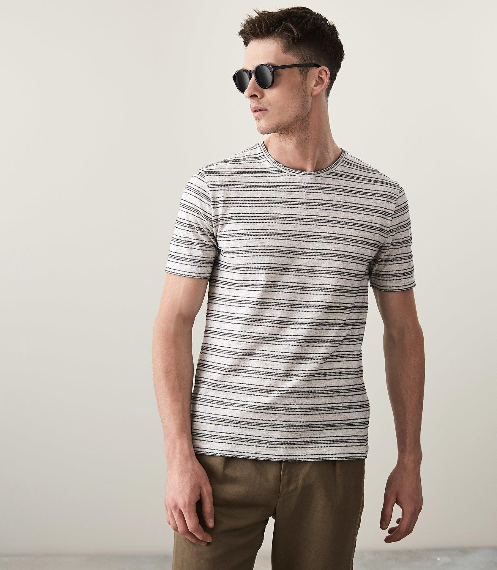 87b765b0a90 Lyst - Reiss Catania - Striped Crew Neck T-shirt in Gray for Men