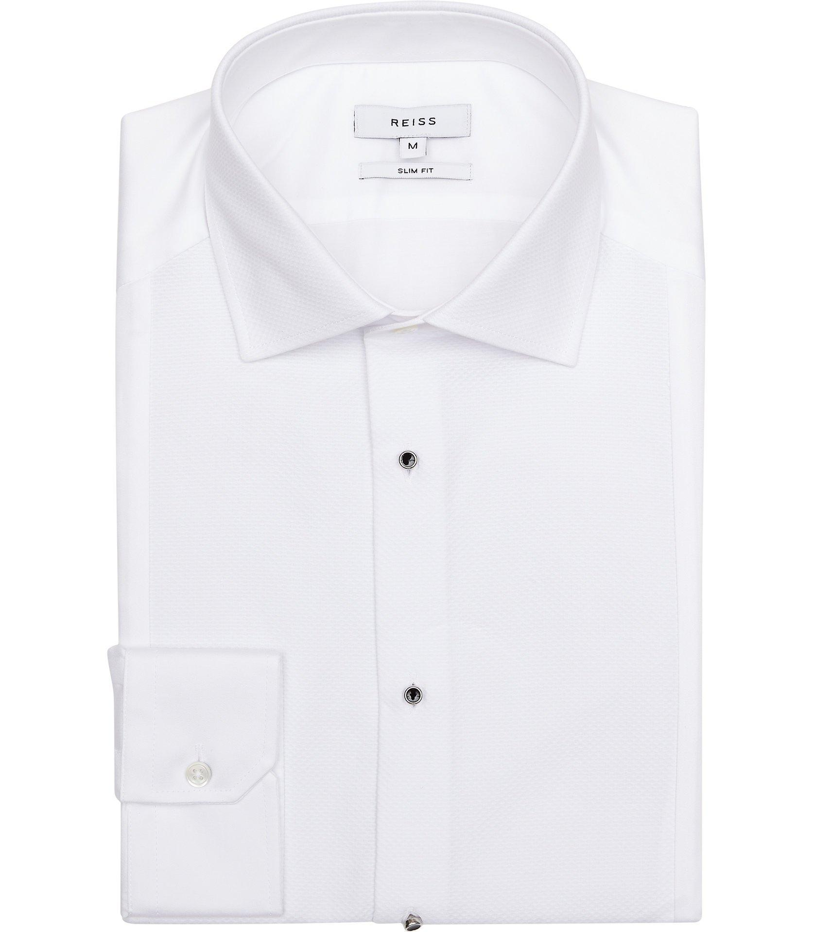 b699c2baa3 Reiss Marcel - Button-detail Slim-fit Shirt in White for Men - Lyst