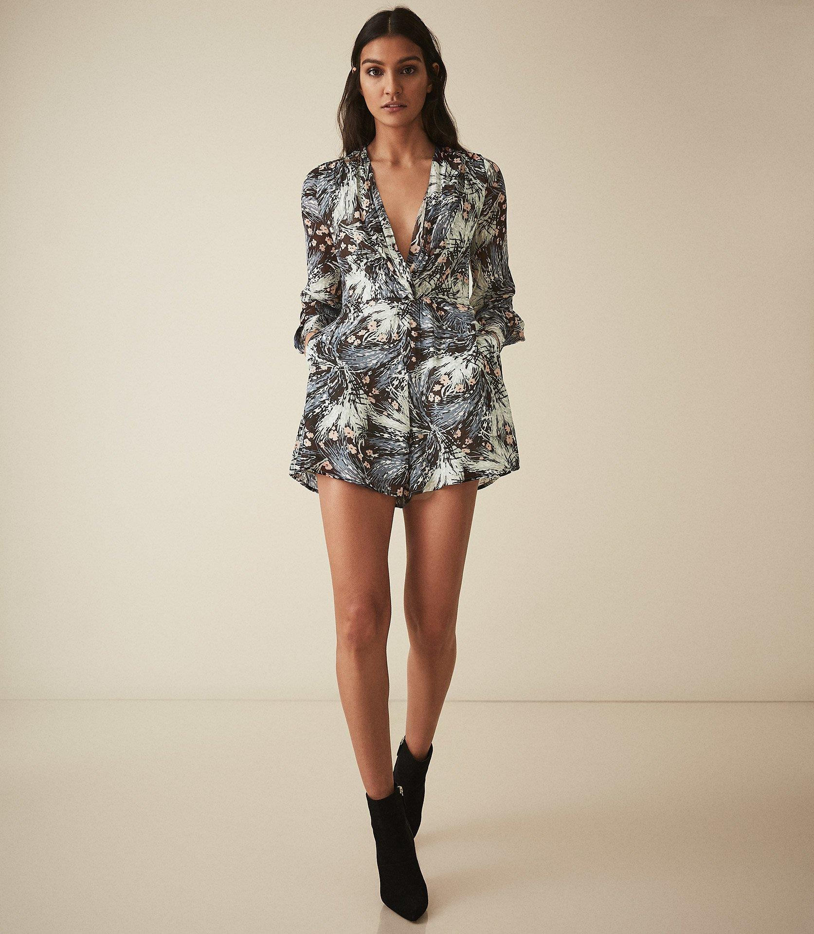 480553e4d8c Reiss Alena - Grass Printed Jumpsuit in Black - Lyst