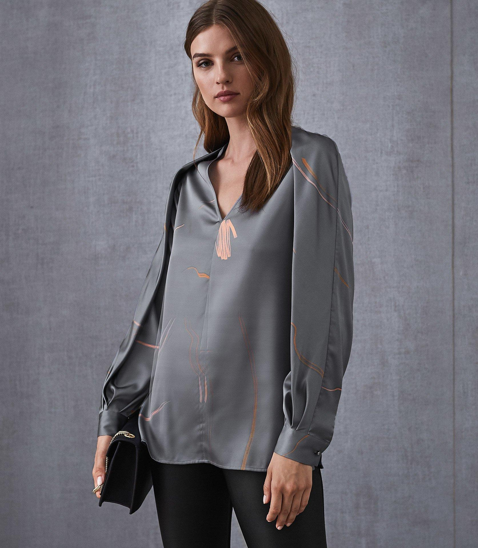 d3d43e61c870a7 Lyst - Reiss Pippy - Abstract Printed V-neck Blouse in Gray