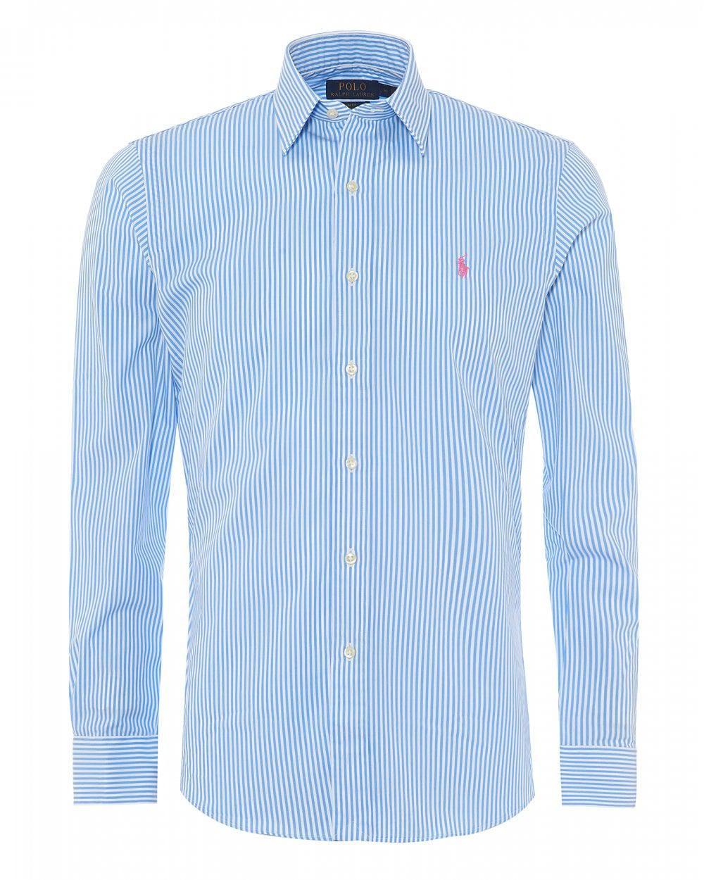 04524ebe6 Ralph Lauren Men Fine Stripe Powder Blue White Slim Shirt in Blue ...