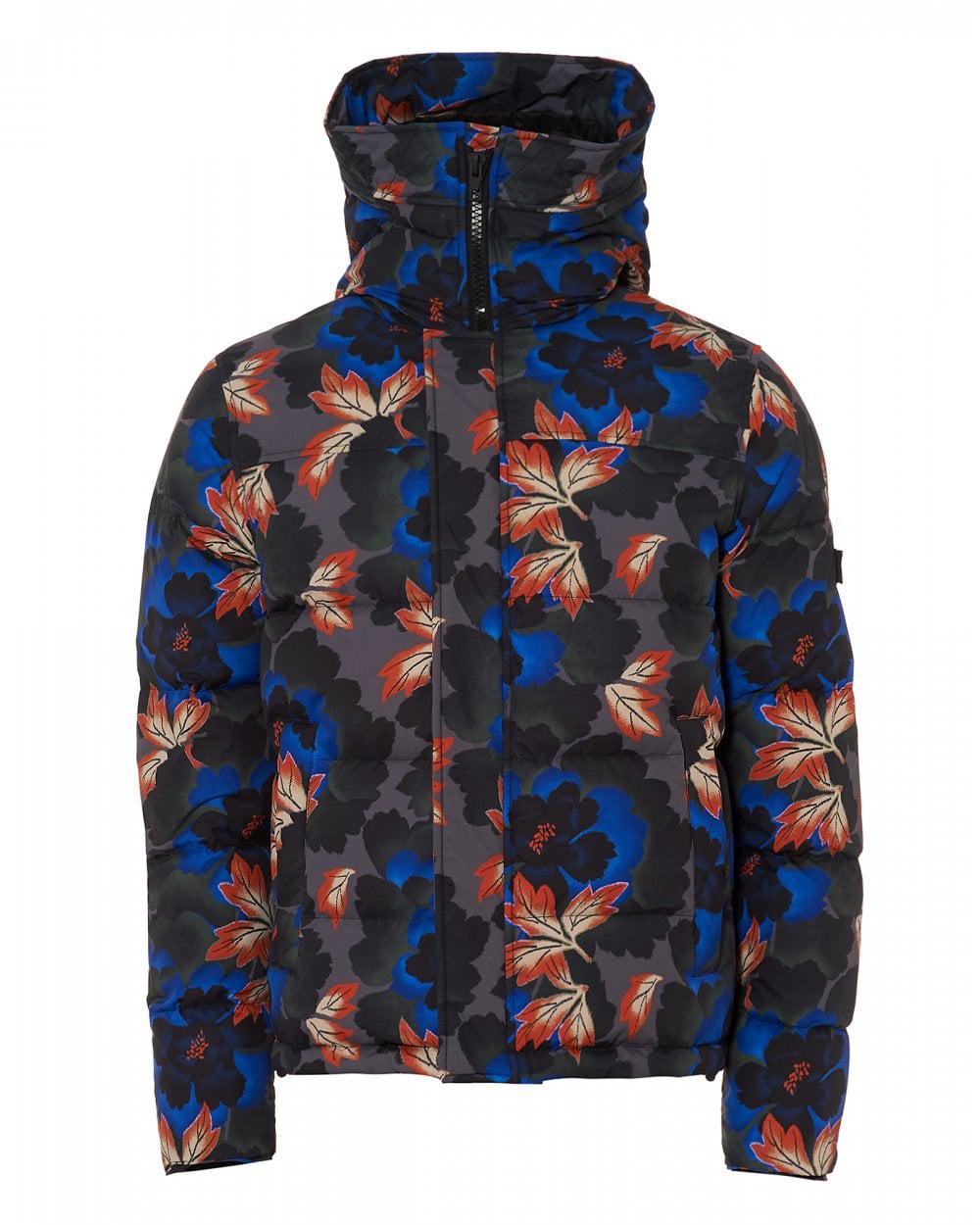 d207d623e Lyst - KENZO Floral Printed Padded Blousson Jacket in Blue for Men ...