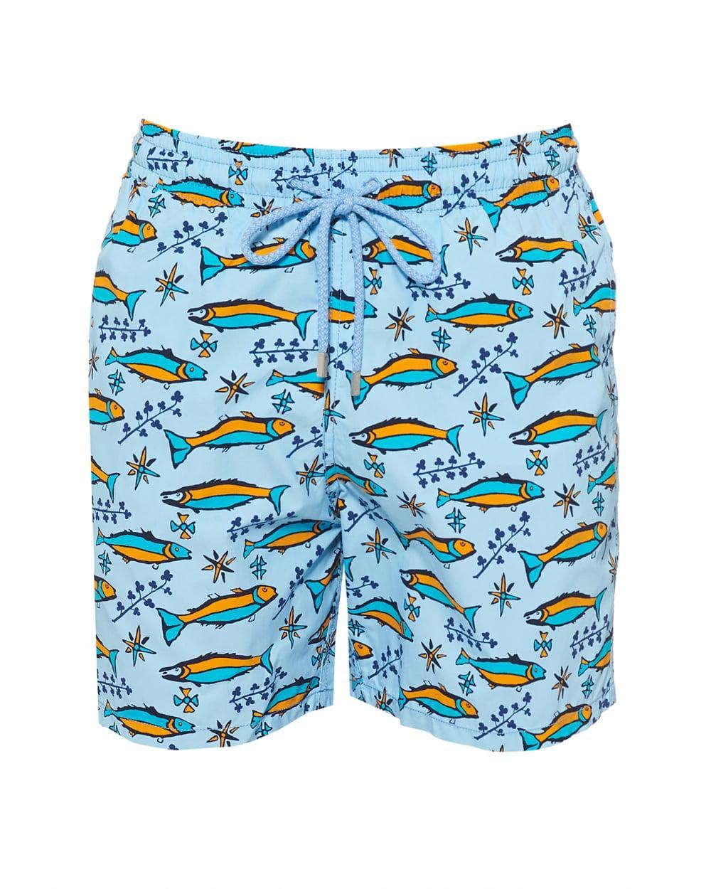 035aca4a0c Vilebrequin. Men's Moorea Swimshort, Sky Blue Sardine Print Swimming Trunks