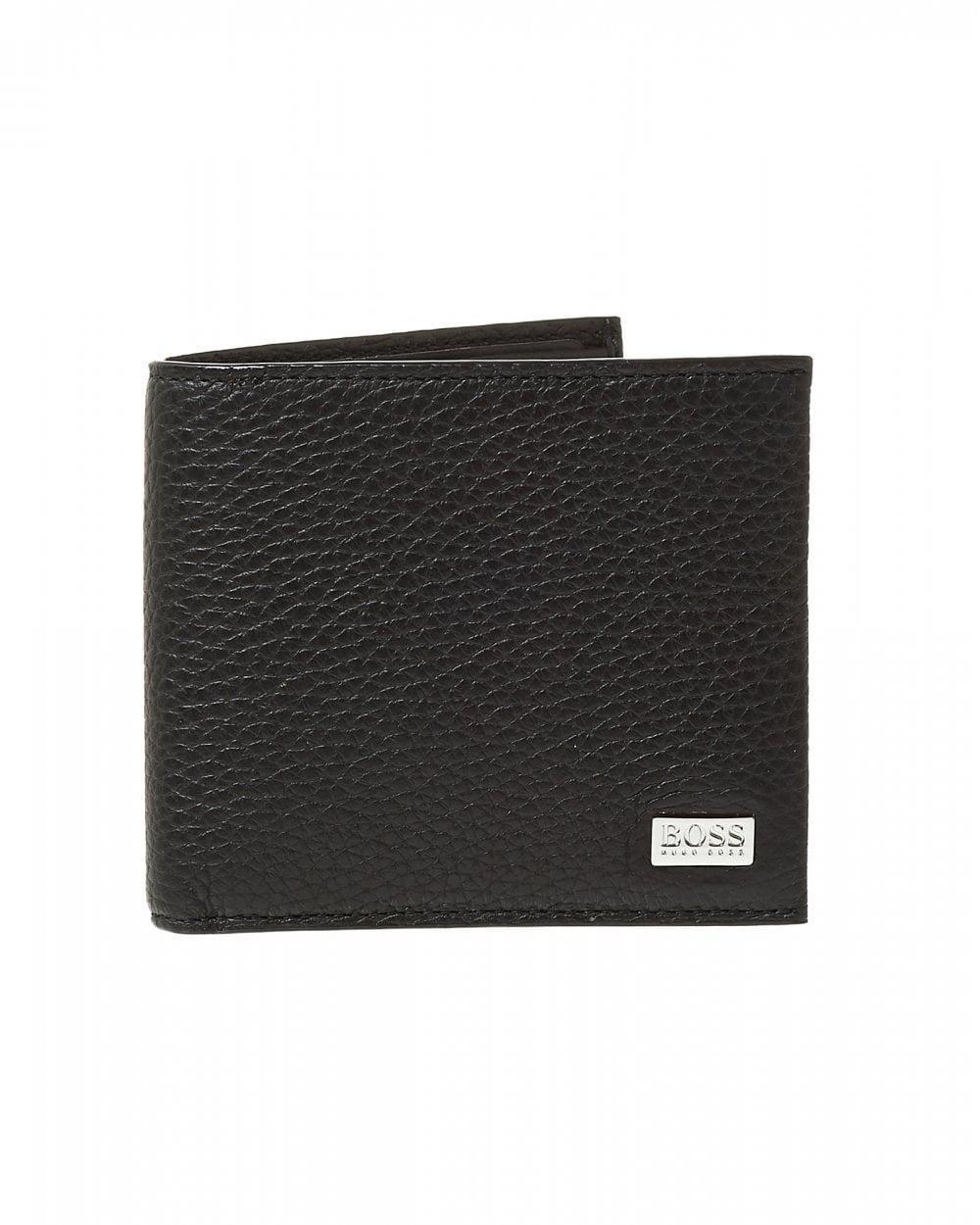 4bc9d9ff5f4 Lyst - BOSS Crosstown Black Leather Billfold Wallet in Black for Men