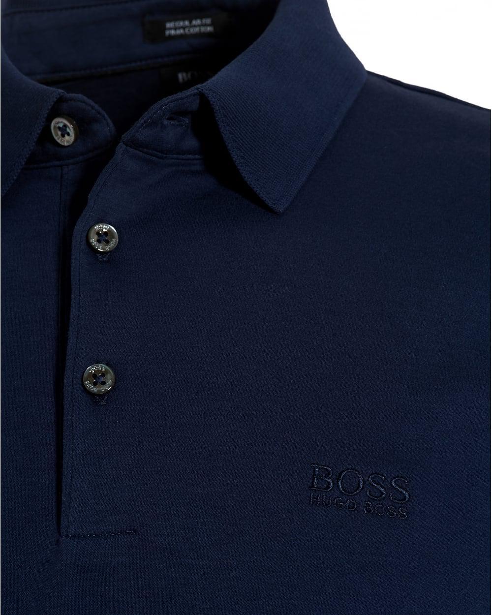 caaee92a8 BOSS Black Phillian Long Sleeve Polo, Navy Blue Regular Fit Polo ...
