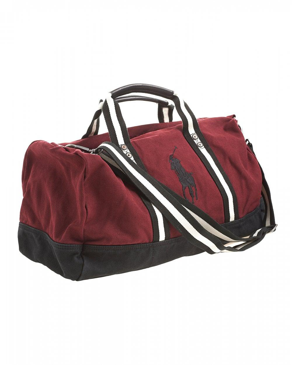 e74e0a094032 Lyst - Ralph Lauren Polo Player Striped Wine Red Gym Bag in Red for Men