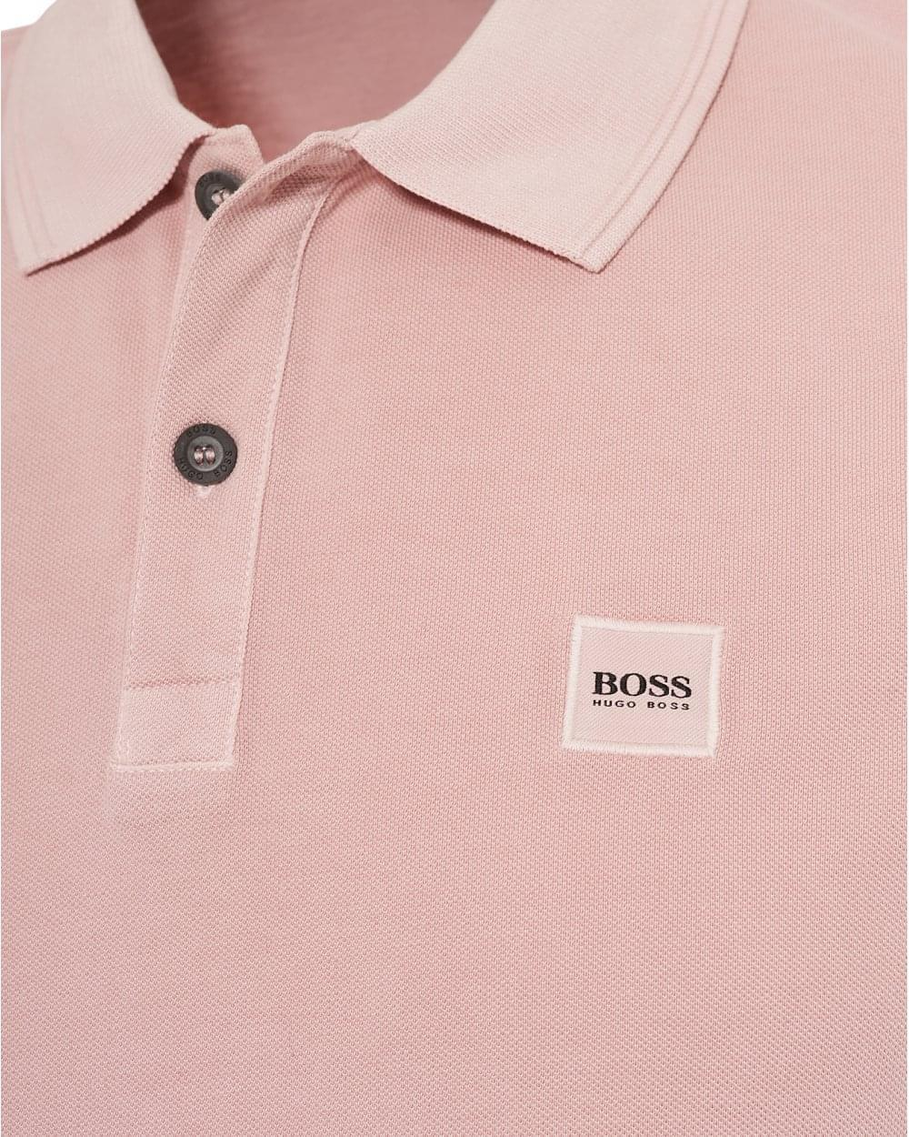 919ee760 BOSS by Hugo Boss Prime Polo Shirt, Slim Fit Chest Badge Washed Pink ...