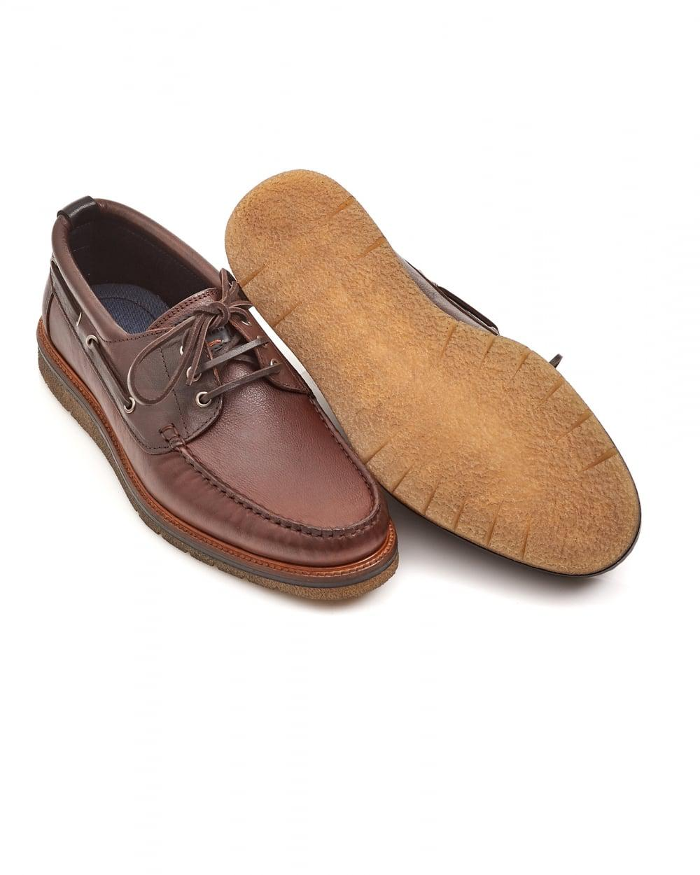 89df9d73611 Lyst - BOSS Tuned mocc Lace Rust Leather Moccasins in Brown for Men