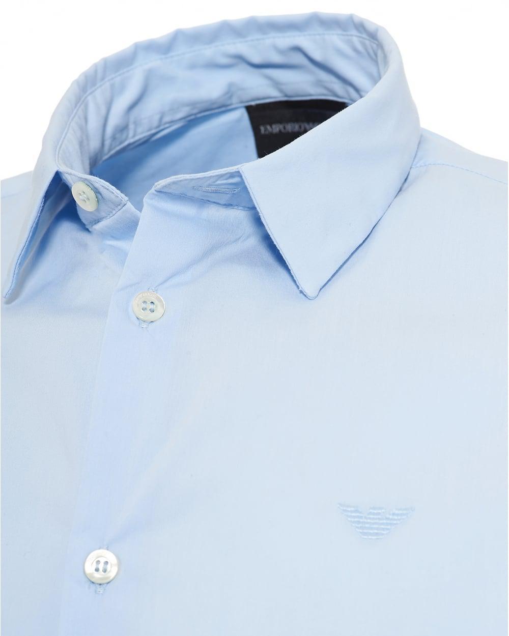 1e2b2be9 Emporio Armani Poplin Stretch Shirt, Slim Fit Sky Blue Shirt in Blue ...