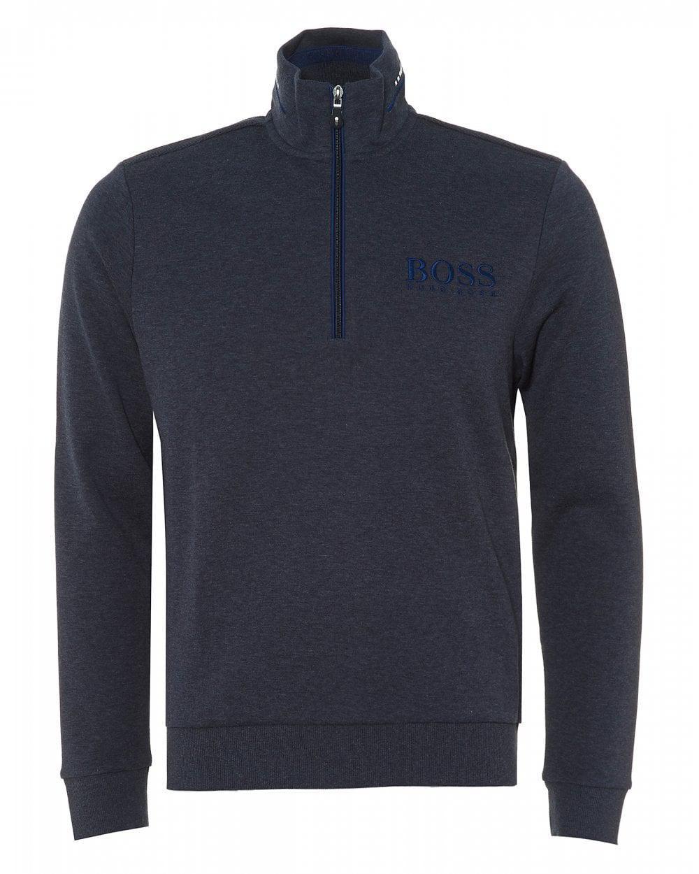 0cc18d312 BOSS 1/4 Zip Neck Sweatshirt, Night Watch Blue Regular Fit Sweat in ...