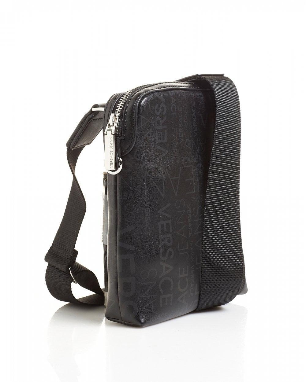 Lyst - Versace Jeans All Over Logo Printed Black Stash Bag in Black for Men af24c5caadc60