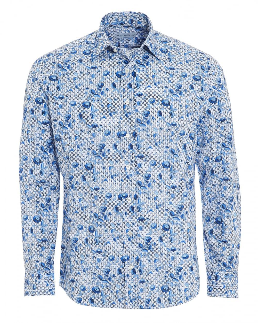 Lyst etro micro leaves floral shirt regular fit white for Blue floral shirt mens