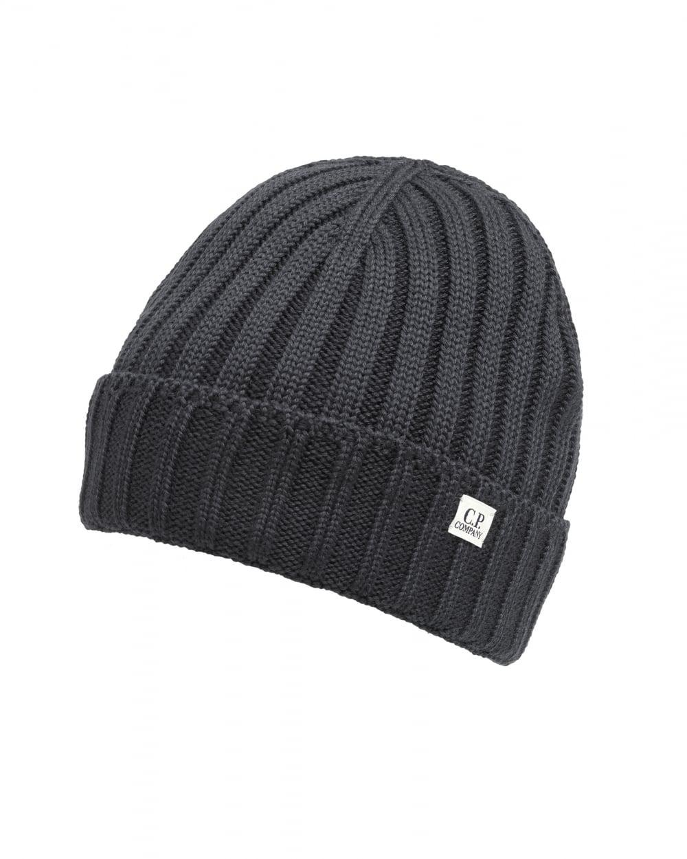 314fe395385 C P Company Black Ribbed Logo Tab Beanie Hat in Black for Men - Lyst