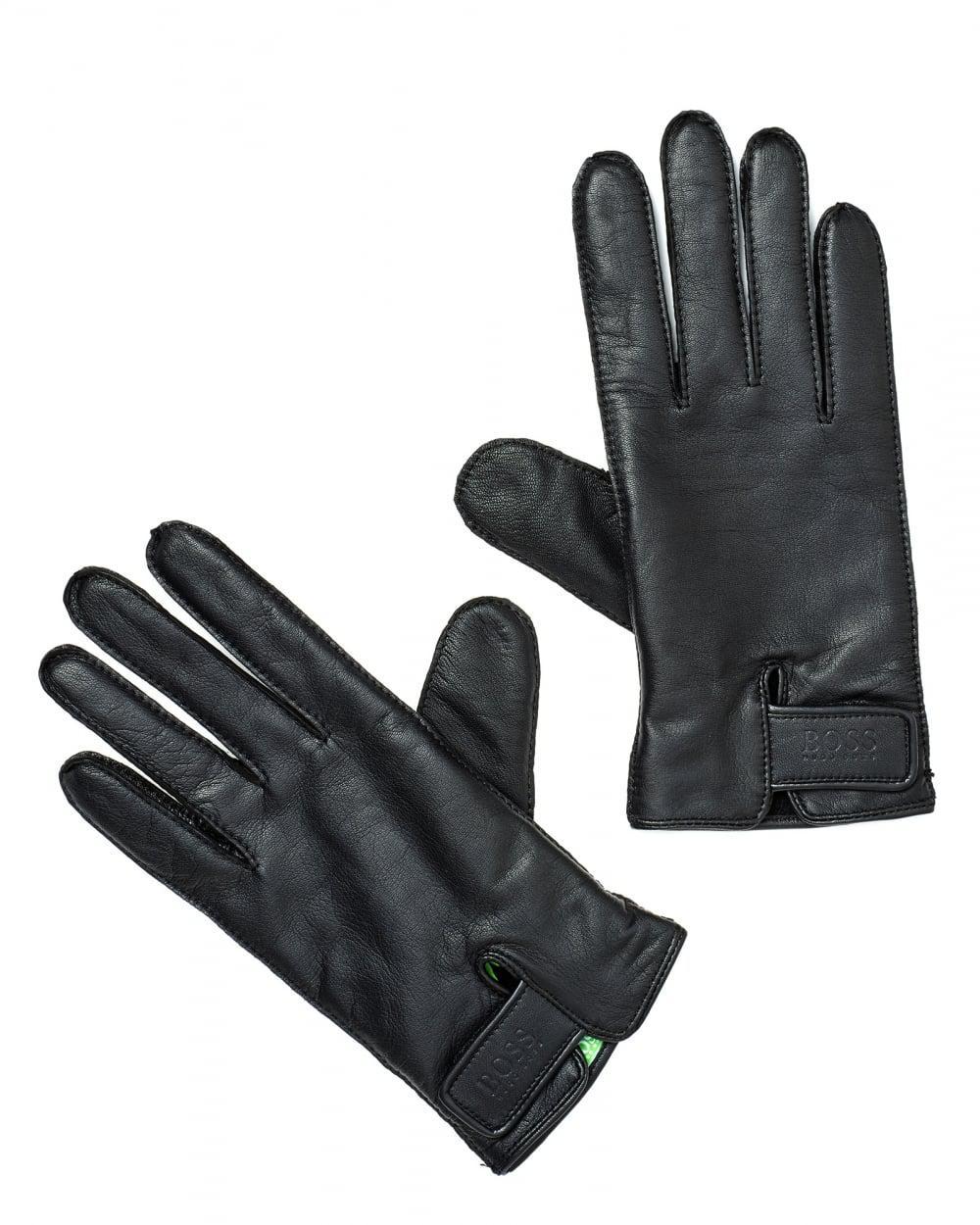9e1e939db7b374 BOSS Gans 3 Gloves, Branded Wrist Fixing Black Gloves in Black for ...