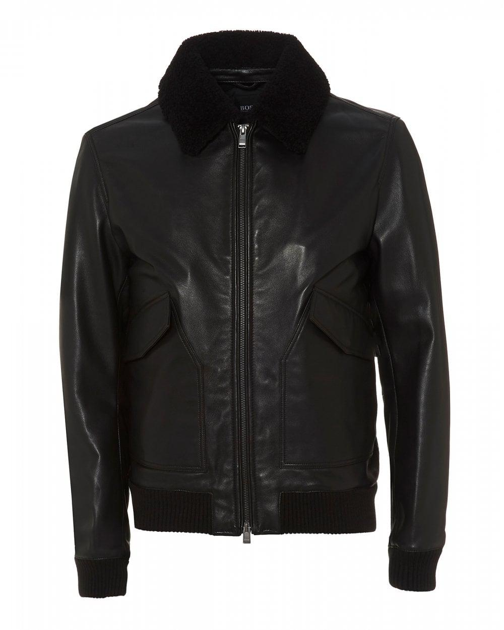 f01e1a67d4f Lyst - BOSS Gordani Black Leather Bomber Jacket in Black for Men