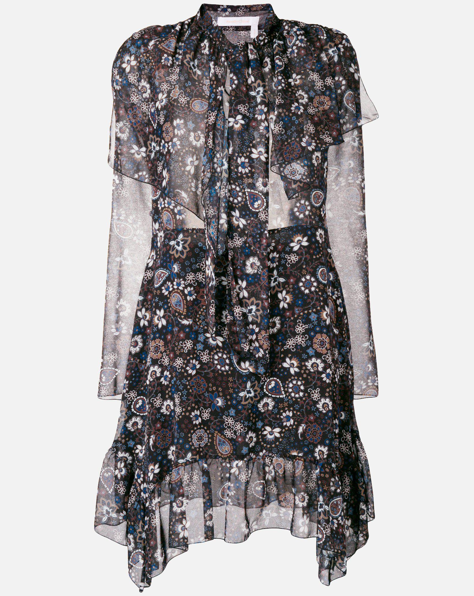 c98d294aa4d3e Lyst - See By Chloé Micro Paisley Georgette Dress In Multicolor Black in  Black