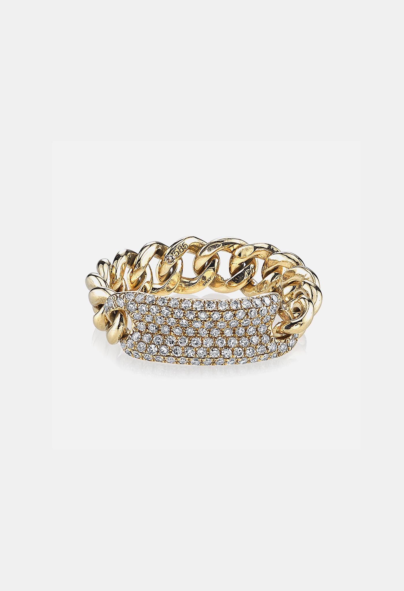 shay essential pave id link ring in yellow gold in