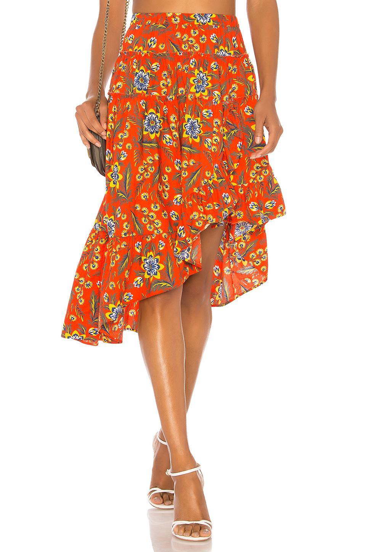 71685a9cf1 Joie Floral-print Cotton-poplin Skirt Bright Orange in Orange - Lyst