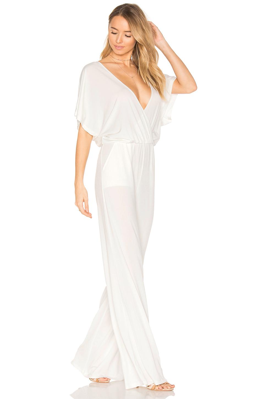 51fa64ce2a65 Lyst - Bobi Black Luxe Jersey Drape Front Jumpsuit in White