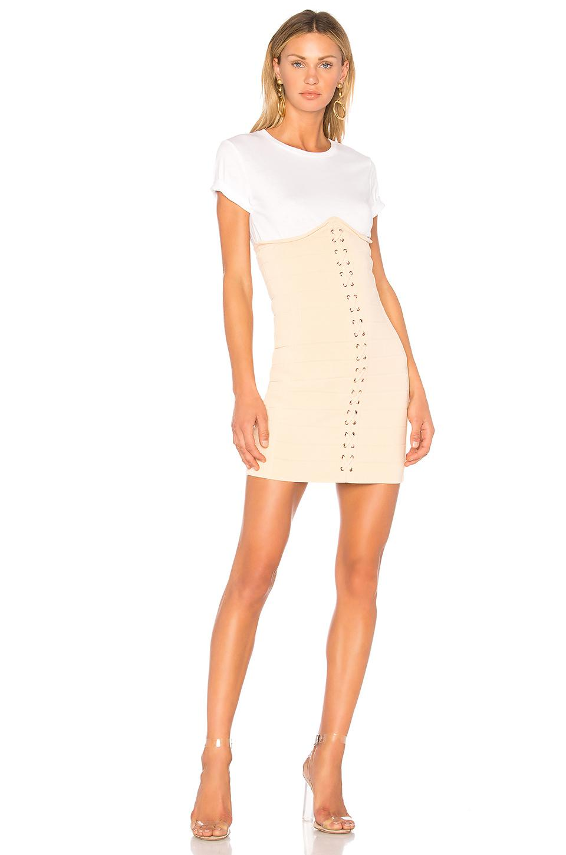 Endless Rose. Women's White Knitted Corset T-shirt Dress