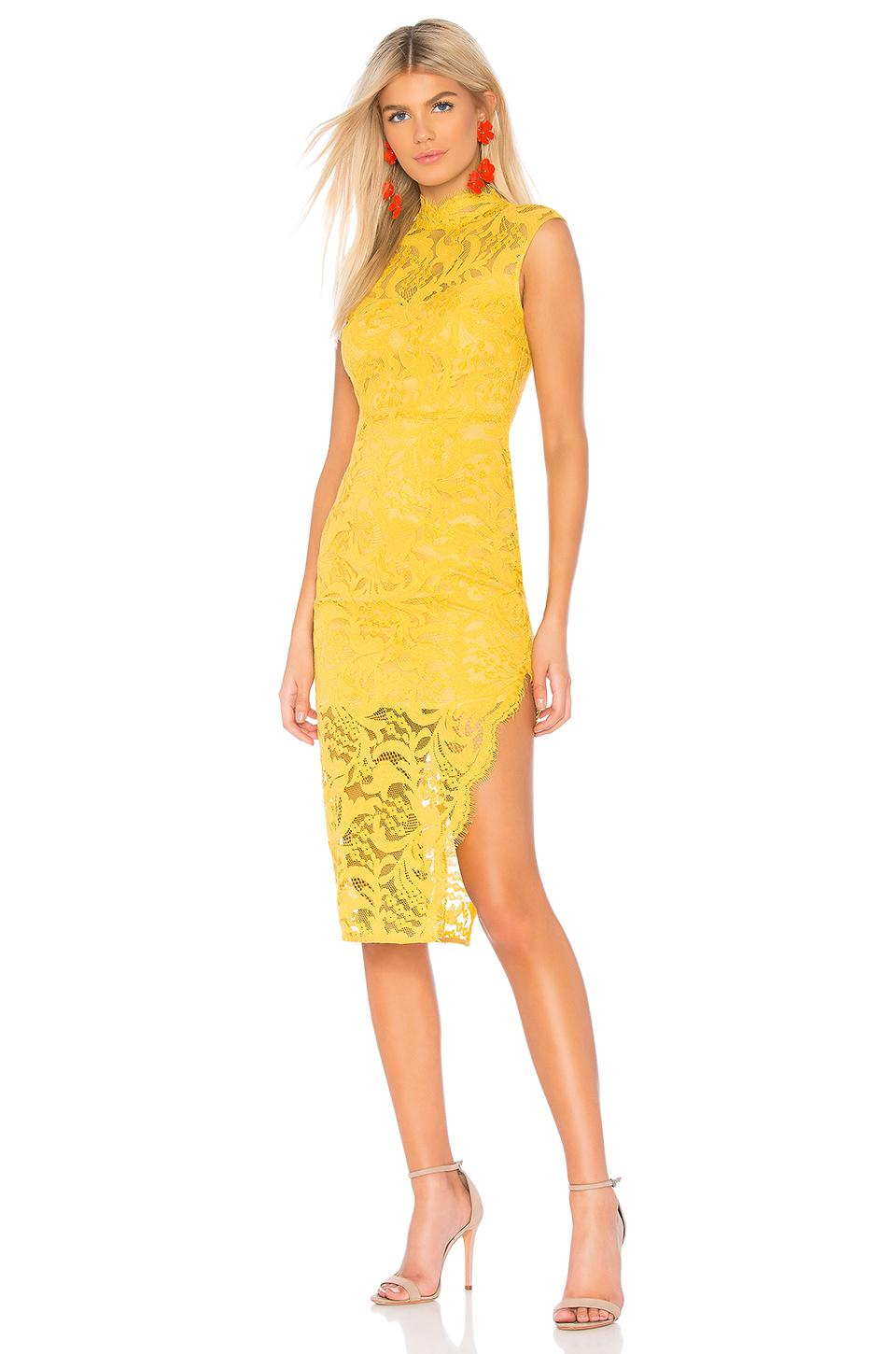 980ee1ede1531e Lyst - Aijek Melanie Cap Sleeve Dress in Yellow