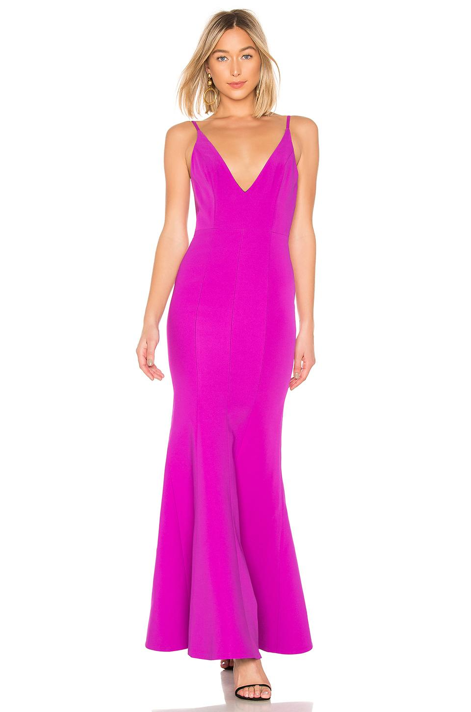 e1fb543aee8d2 Lyst - Aijek Camille Bonded Scoop Back Gown in Purple