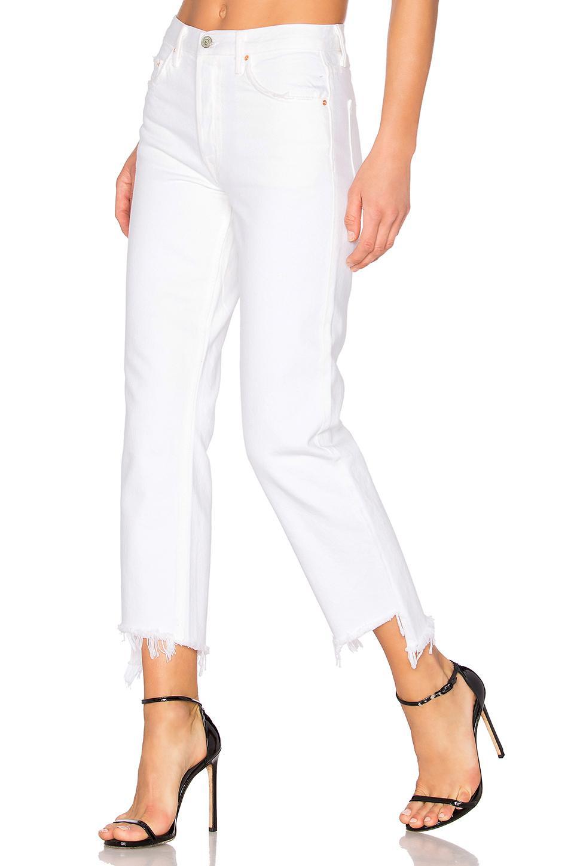 94faf38b39d4 Lyst - GRLFRND Helena High-rise Straight Crop Jean in White