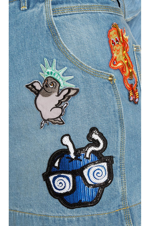 61f616df KENZO Stone Washed Denim Skirt in Blue - Lyst