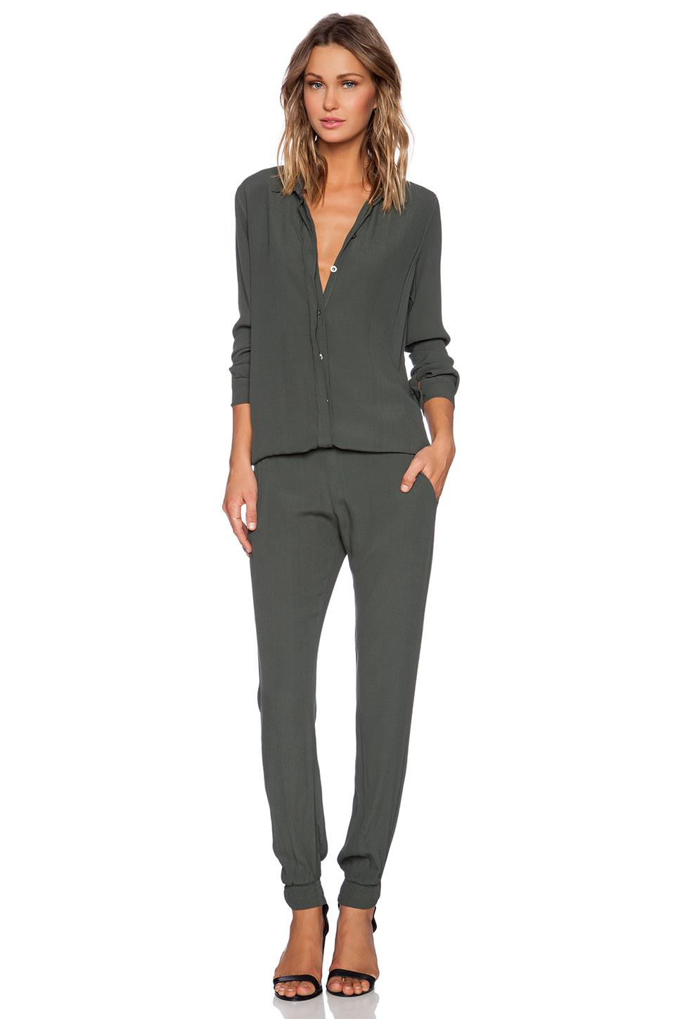 8d85e04b065 Monrow Crepe Long Sleeve Jumpsuit In Green in Green - Lyst