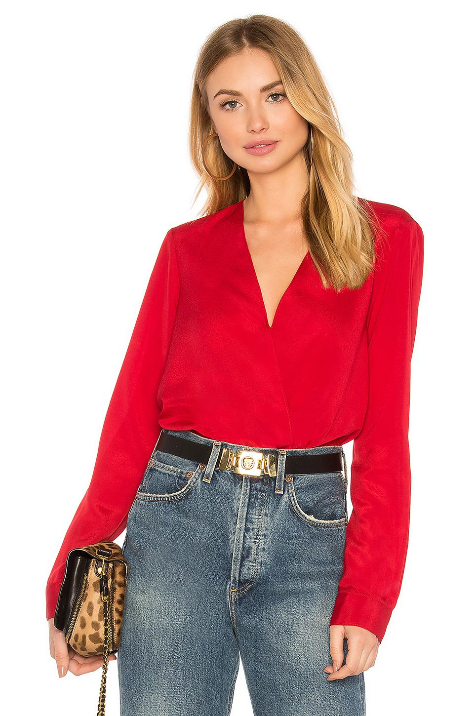 df203aa6d50a33 BCBGeneration Shirt Cuff Surplice Top In Chili Pepper in Red - Lyst