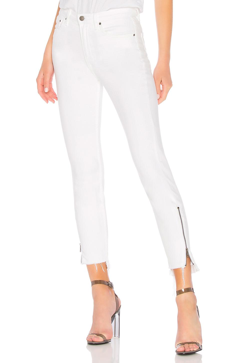 Kendall ankle zip tapered jeans - White GRLFRND