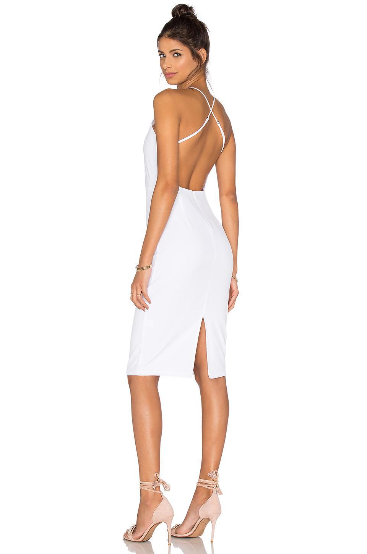 c10eb065ff7 Donna Mizani Square Neck Midi Dress in White - Lyst