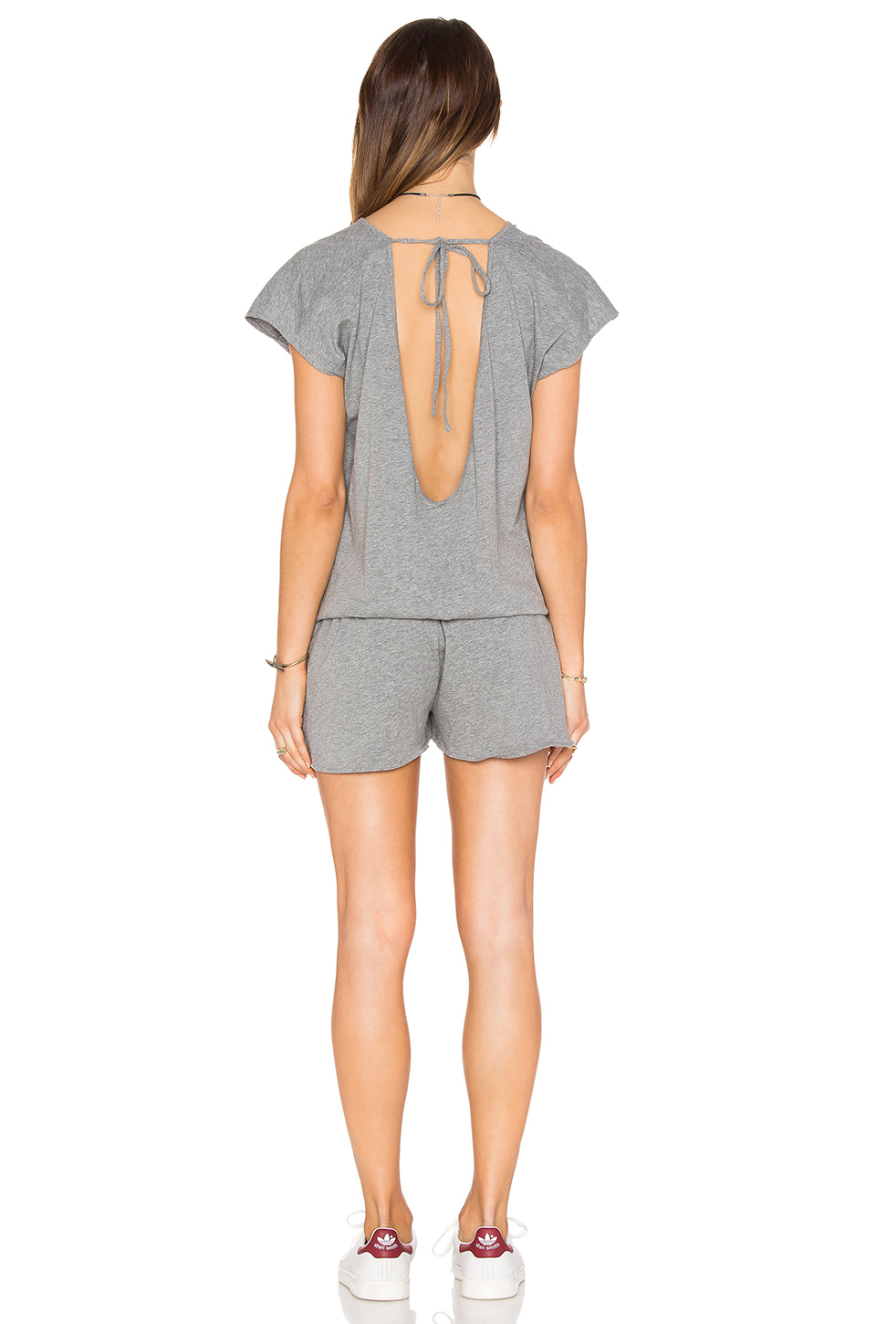 239a712c359 Lyst - Bobi Supreme Jersey Short Sleeve Open Back Romper in Gray