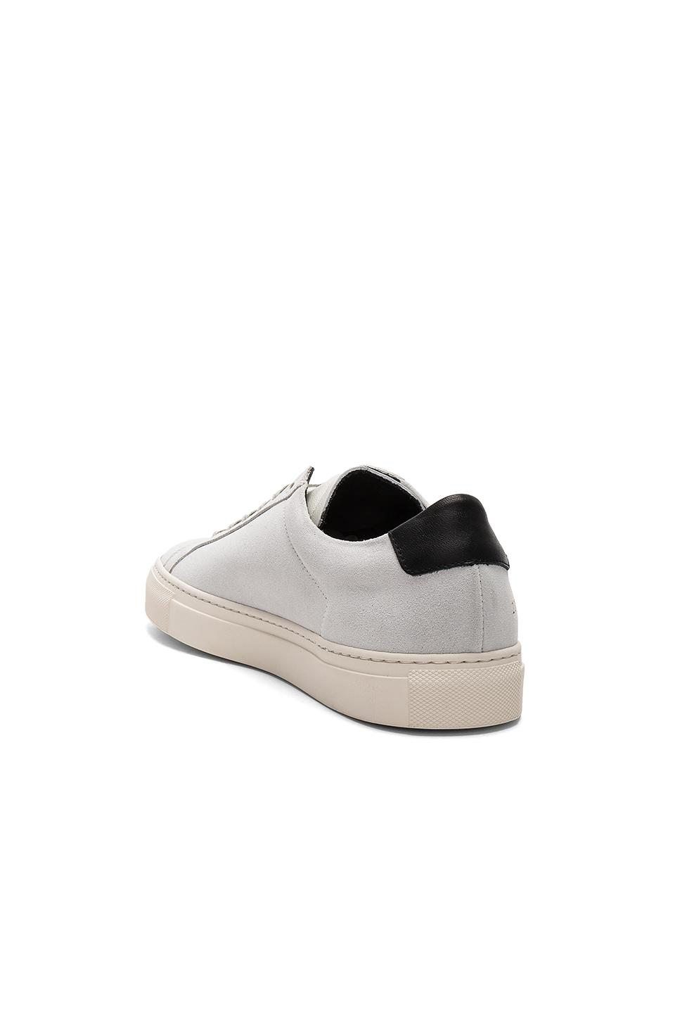 lyst common projects achilles retro low suede in white. Black Bedroom Furniture Sets. Home Design Ideas